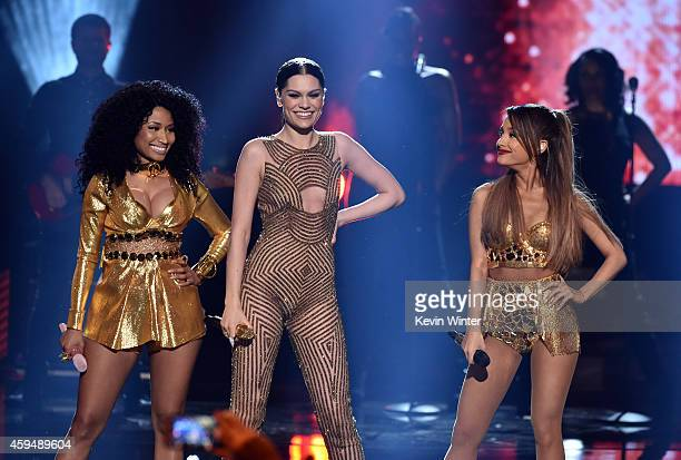 Recording artists Nicki Minaj Jessie J and Ariana Grande perform onstage at the 2014 American Music Awards at Nokia Theatre LA Live on November 23...