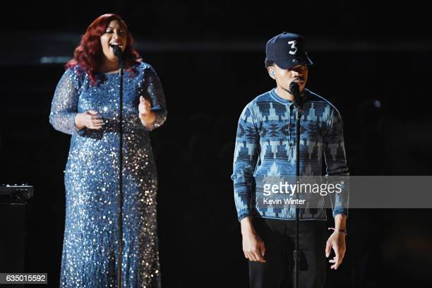 Recording artists Nicole Steen and Chance the Rapper perform onstage during The 59th GRAMMY Awards at STAPLES Center on February 12 2017 in Los...