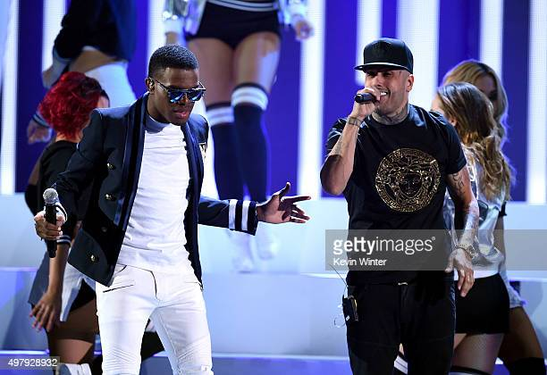 Recording artists OMI and Nicky Jam perform onstage during the 16th Latin GRAMMY Awards at the MGM Grand Garden Arena on November 19 2015 in Las...