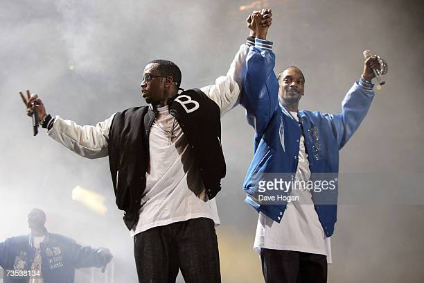 Recording artists P Diddy and Snopp Dogg perform on stage at the Hartwall Areena on March 9 2007 in Helsinki Finland This concert marks the beginning...