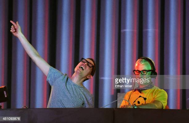 Recording artists Paavo Siljamaki and Tony McGuinness of Above Beyond perform during the 18th annual Electric Daisy Carnival at Las Vegas Motor...