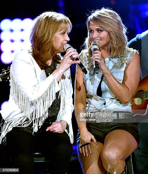 Recording artists Patty Loveless and Miranda Lambert perform onstage during ACM Presents Superstar Duets at Globe Life Park in Arlington on April 18...