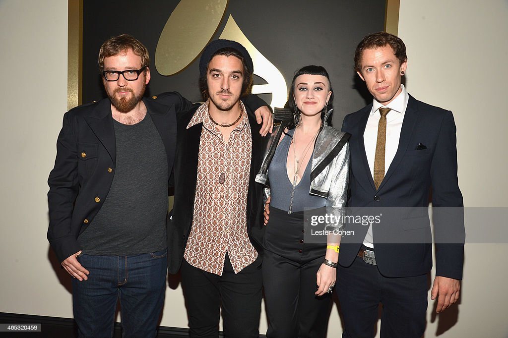 Recording artists Paul Bender, Perrin Moss, Nai Palm, and Simon Mavin of Hiatus Kaiyote attend the 56th GRAMMY Awards at Staples Center on January 26, 2014 in Los Angeles, California.