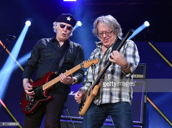 Recording artists Paul Dean and Ken 'Spider' Sinnaeve of music group Loverboy perform onstage during the first ever iHeart80s Party at The Forum on...