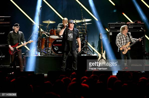 Recording artists Paul Dean Matt Frenette Mike Reno and Ken 'Spider' Sinnaeve of music group Loverboy perform onstage during the first ever iHeart80s...