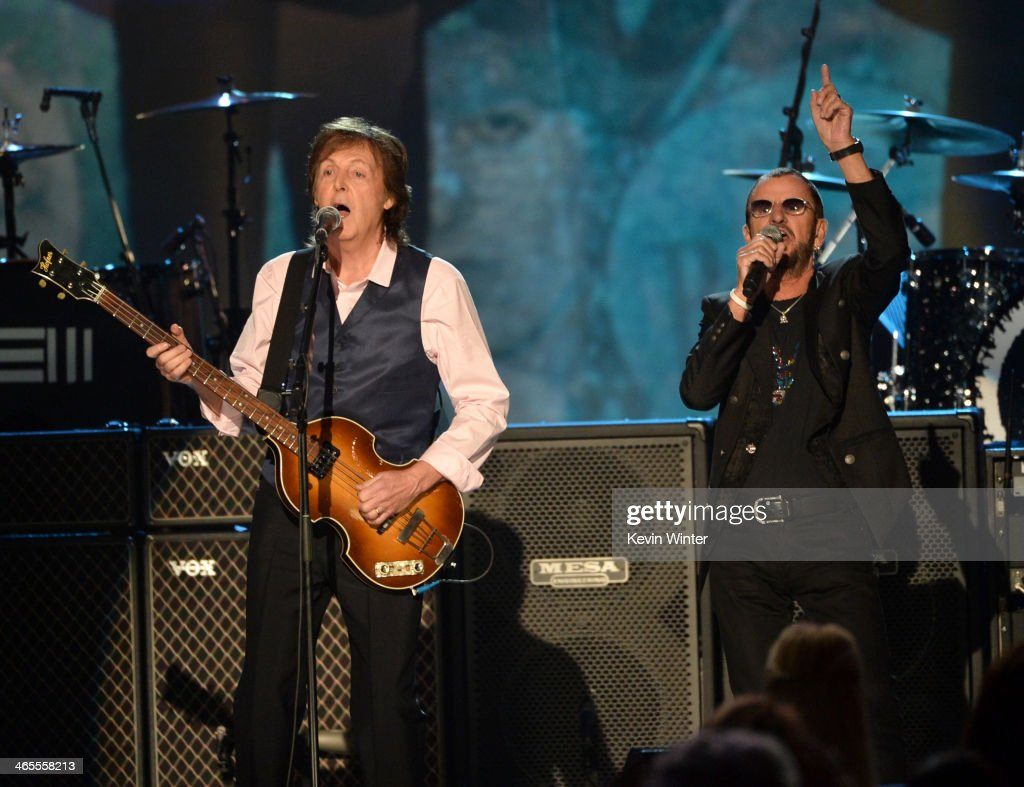Recording artists <a gi-track='captionPersonalityLinkClicked' href=/galleries/search?phrase=Paul+McCartney&family=editorial&specificpeople=92298 ng-click='$event.stopPropagation()'>Paul McCartney</a> (L) and <a gi-track='captionPersonalityLinkClicked' href=/galleries/search?phrase=Ringo+Starr&family=editorial&specificpeople=92463 ng-click='$event.stopPropagation()'>Ringo Starr</a> perform onstage during 'The Night That Changed America: A GRAMMY Salute To The Beatles' at the Los Angeles Convention Center on January 27, 2014 in Los Angeles, California.
