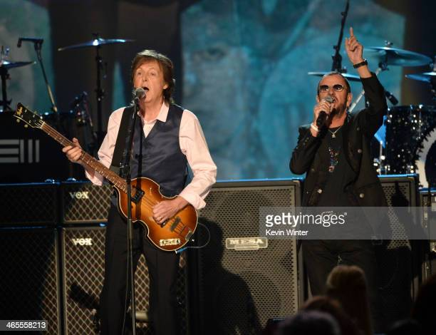 Recording artists Paul McCartney and Ringo Starr perform onstage during 'The Night That Changed America A GRAMMY Salute To The Beatles' at the Los...