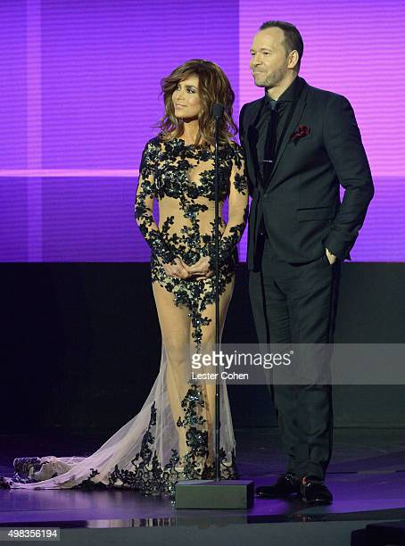 Recording artists Paula Abdul and Donnie Wahlberg speak onstage during the 2015 American Music Awards at Microsoft Theater on November 22 2015 in Los...