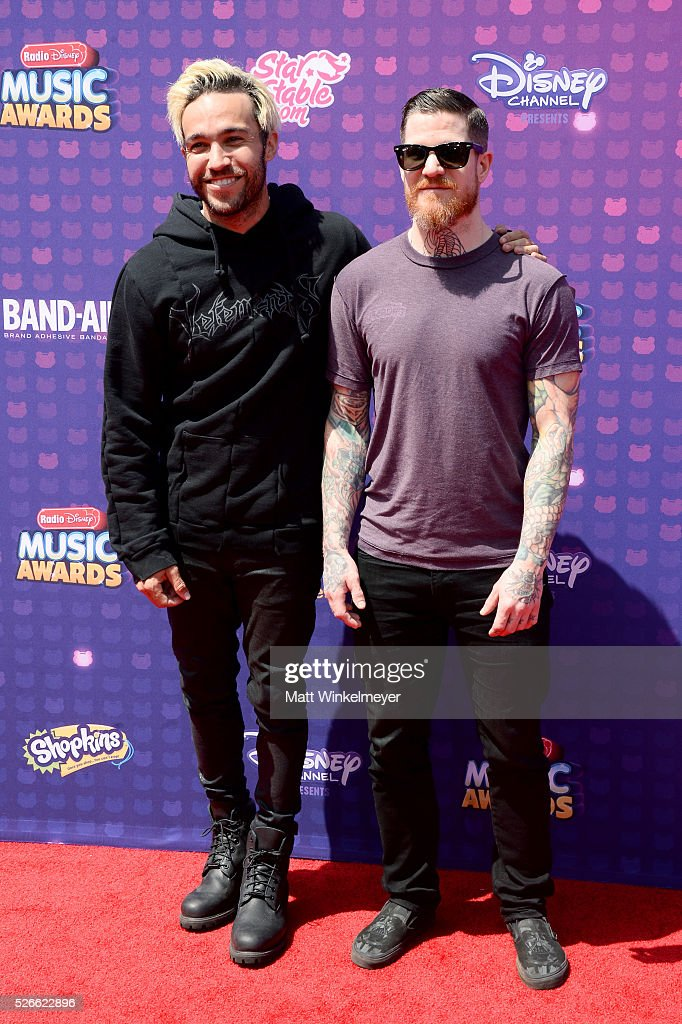 Recording artists <a gi-track='captionPersonalityLinkClicked' href=/galleries/search?phrase=Pete+Wentz&family=editorial&specificpeople=595892 ng-click='$event.stopPropagation()'>Pete Wentz</a> (L) and Andy Hurley of Fall Out Boy attend the 2016 Radio Disney Music Awards at Microsoft Theater on April 30, 2016 in Los Angeles, California.