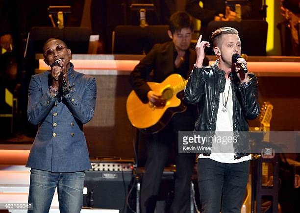 Recording artists Pharrell Williams and Ryan Tedder perform onstage during Stevie Wonder Songs In The Key Of Life An AllStar GRAMMY Salute at Nokia...