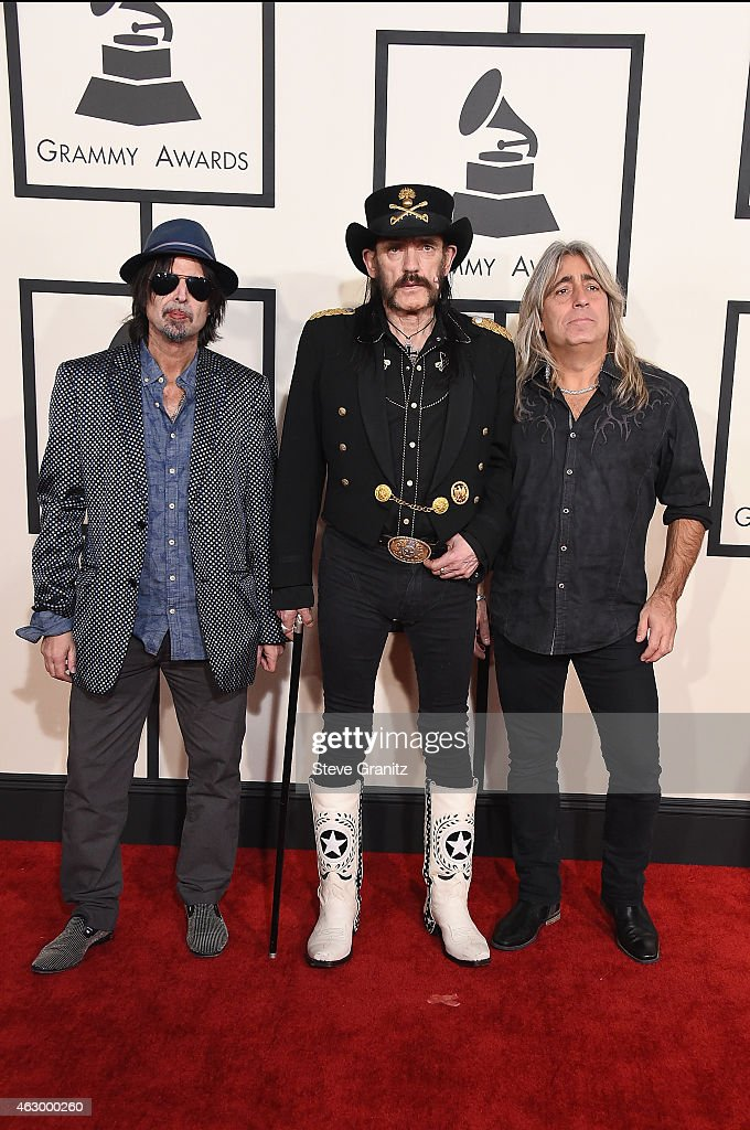 Recording artists Phil Campbell, Ian 'Lemmy' Kilmister, and Mikkey Dee of music group Motorhead attend The 57th Annual GRAMMY Awards at the STAPLES Center on February 8, 2015 in Los Angeles, California.