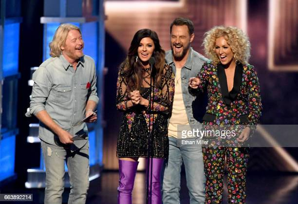 Recording artists Phillip Sweet Karen Fairchild Jimi Westbrook and Kimberly Schlapman of music group Little Big Town accept the Vocal Group of the...