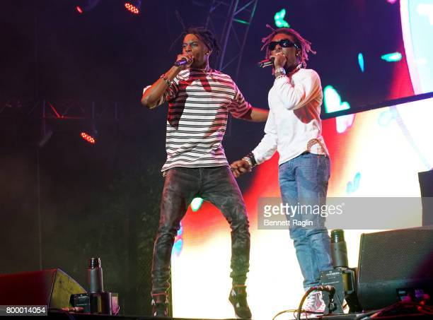 Recording artists Playboi Carti and Lil Uzi Vert perform at night one of the 2017 BET Experience STAPLES Center Concert sponsored by Hulu at Staples...