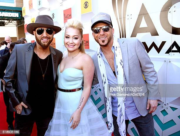 Recording artists Preston Brust and Chris Lucas of LOCASH and RaeLynn attend the 51st Academy of Country Music Awards at MGM Grand Garden Arena on...