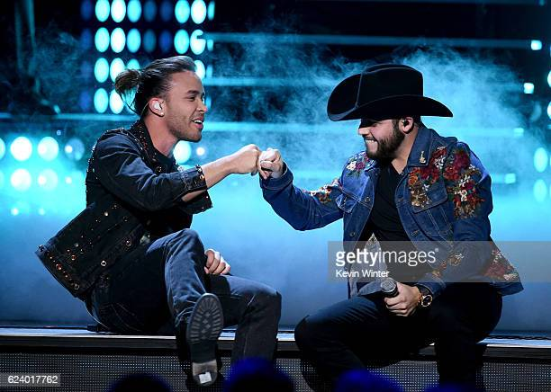 Recording artists Prince Royce and Gerardo Ortiz perform onstage during The 17th Annual Latin Grammy Awards at TMobile Arena on November 17 2016 in...