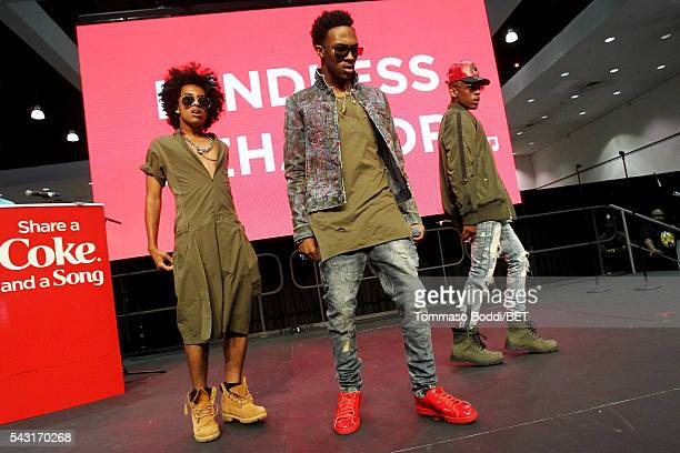 Recording artists Princeton EJ and Craig Crippen of Mindless Behavior perform onstage at the Coke music studio during the 2016 BET Experience on June...