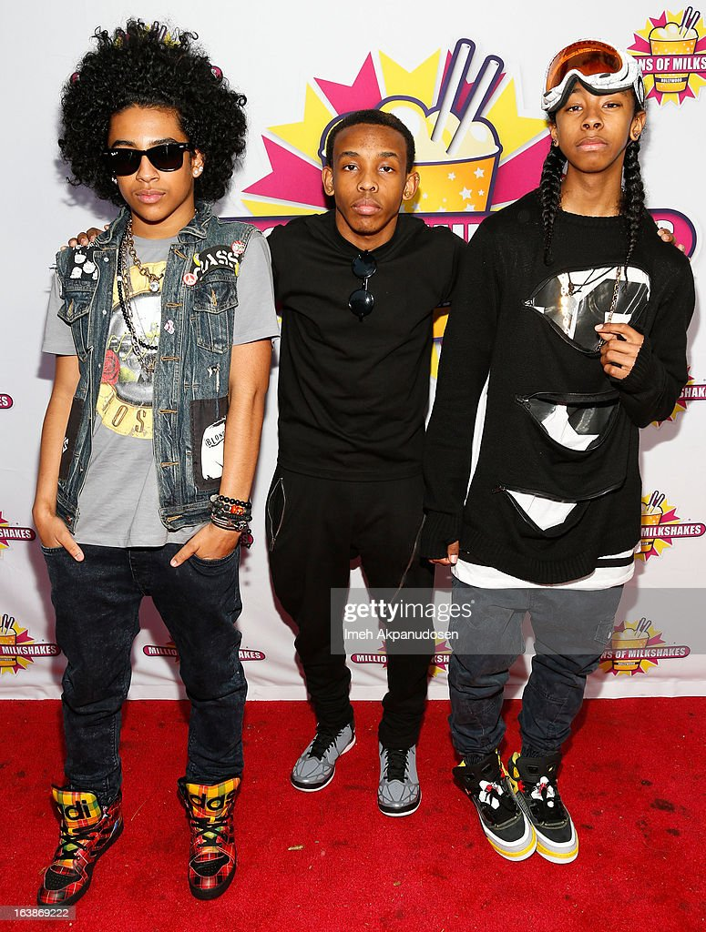 Recording artists Princeton, Prodigy, and <a gi-track='captionPersonalityLinkClicked' href=/galleries/search?phrase=Ray+Ray&family=editorial&specificpeople=3644927 ng-click='$event.stopPropagation()'>Ray Ray</a> of the music group Mindless Behavior attend the launch of their milkshake at Millions Of Milkshakes on March 16, 2013 in West Hollywood, California.