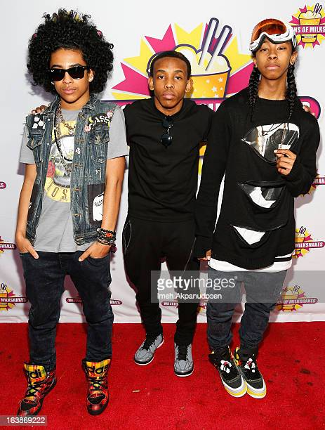 Recording artists Princeton Prodigy and Ray Ray of the music group Mindless Behavior attend the launch of their milkshake at Millions Of Milkshakes...