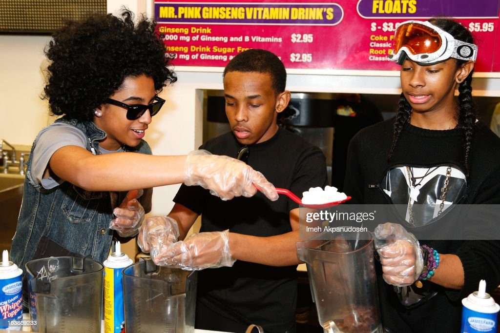 Recording artists Princeton, Prodigy, and <a gi-track='captionPersonalityLinkClicked' href=/galleries/search?phrase=Ray+Ray&family=editorial&specificpeople=3644927 ng-click='$event.stopPropagation()'>Ray Ray</a> of the music group Mindless Behavior prepare milkshakes at Millions Of Milkshakes on March 16, 2013 in West Hollywood, California.