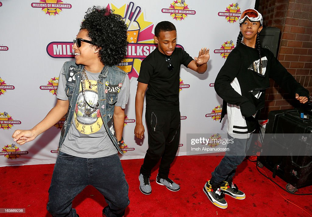 Recording artists Princeton, Prodigy, and Ray Ray of the music group Mindless Behavior attend the launch of their milkshake at Millions Of Milkshakes on March 16, 2013 in West Hollywood, California.