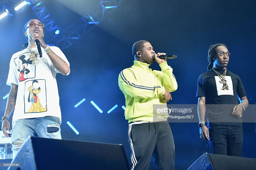 Recording artists Quavo of Migos, A$AP Ferg and Takeoff/Young Takeoff of Migos perform onstage during the 2016 BET Experience at Staples Center on June 25, 2016 in Los Angeles, California.