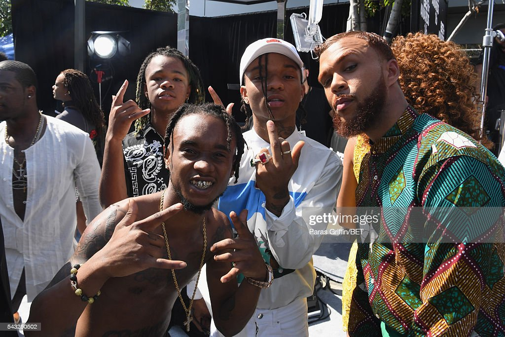 Recording artists Rae Sremmurd and <a gi-track='captionPersonalityLinkClicked' href=/galleries/search?phrase=Jidenna&family=editorial&specificpeople=12754205 ng-click='$event.stopPropagation()'>Jidenna</a> (R) attend the 2016 BET Awards at the Microsoft Theater on June 26, 2016 in Los Angeles, California.