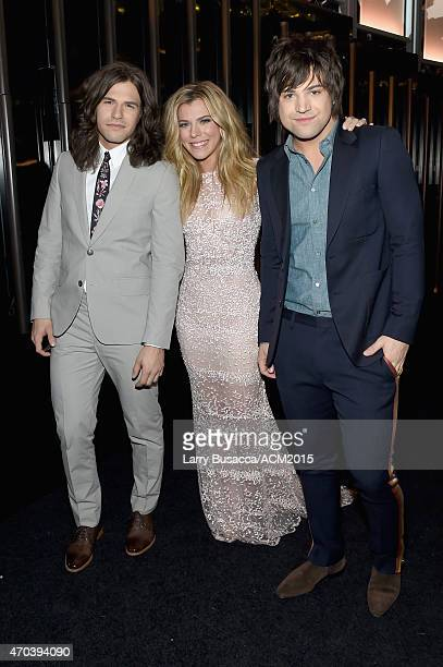 Recording artists Reid Perry Kimberly Perry and Neil Perry of music group The Band Perry attend the 50th Academy Of Country Music Awards at ATT...