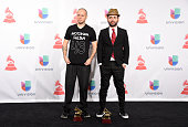 Recording artists Residente Calle 13 and Visitante of music group Calle 13 winners of Best Alternative Song attend the 15th Annual Latin GRAMMY...