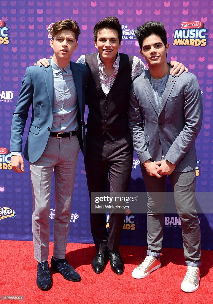 Recording artists Ricky Garcia, Liam Attridge and Emery Kelly of Forever In Your Mind attend the 2016 Radio Disney Music Awards at Microsoft Theater on April 30, 2016 in Los Angeles, California.