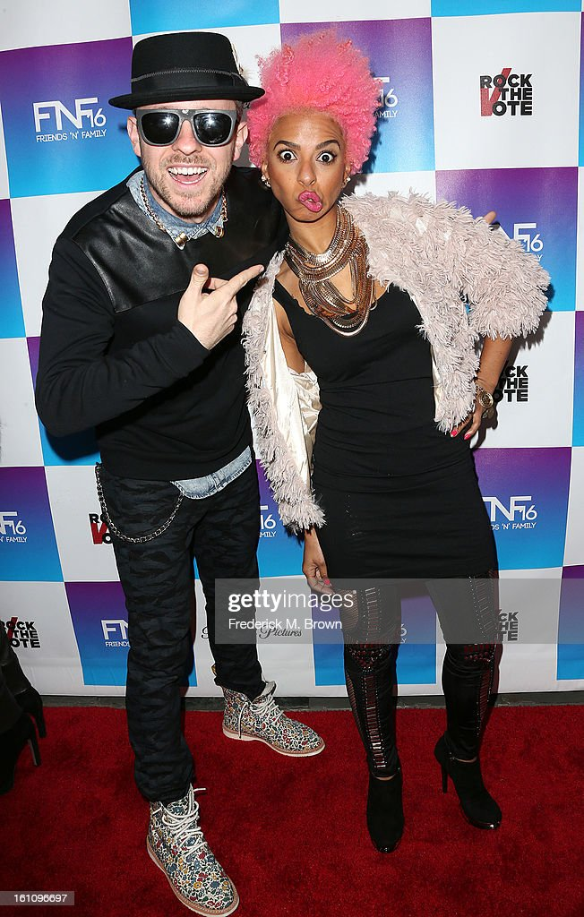 Recording artists Ricky Reed (L) and Novena attend the 16th Annual 'Friends 'N' Family' Pre-GRAMMY Event at Paramount Studios on February 8, 2013 in Hollywood, California.
