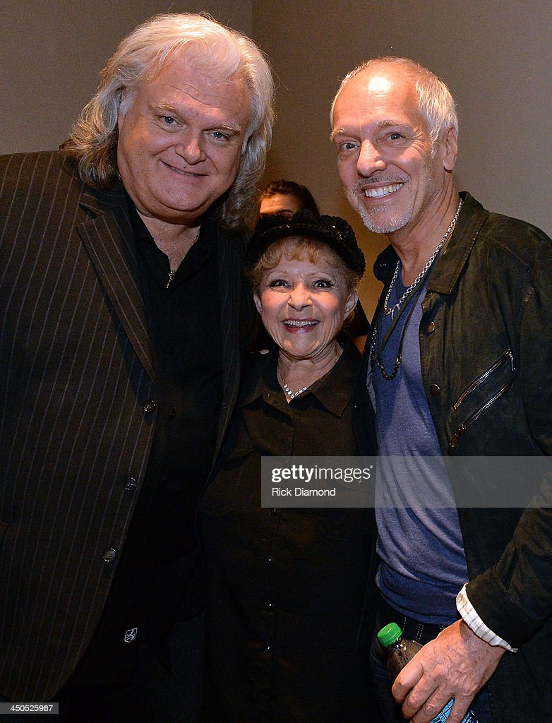 Recording Artists <a gi-track='captionPersonalityLinkClicked' href=/galleries/search?phrase=Ricky+Skaggs&family=editorial&specificpeople=2134089 ng-click='$event.stopPropagation()'>Ricky Skaggs</a>, Breanda Lee and <a gi-track='captionPersonalityLinkClicked' href=/galleries/search?phrase=Peter+Frampton&family=editorial&specificpeople=221428 ng-click='$event.stopPropagation()'>Peter Frampton</a> backstage at the CMA Theater on November 18, 2013 in Nashville, Tennessee. Skaggs was recently announced as the Country Music Hall of Fame and Museum's 2013 Artist-in-Residence.