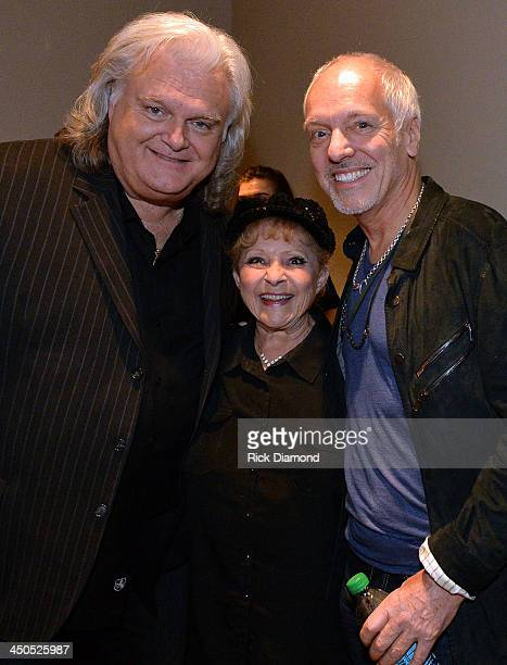 Recording Artists Ricky Skaggs Breanda Lee and Peter Frampton backstage at the CMA Theater on November 18 2013 in Nashville Tennessee Skaggs was...