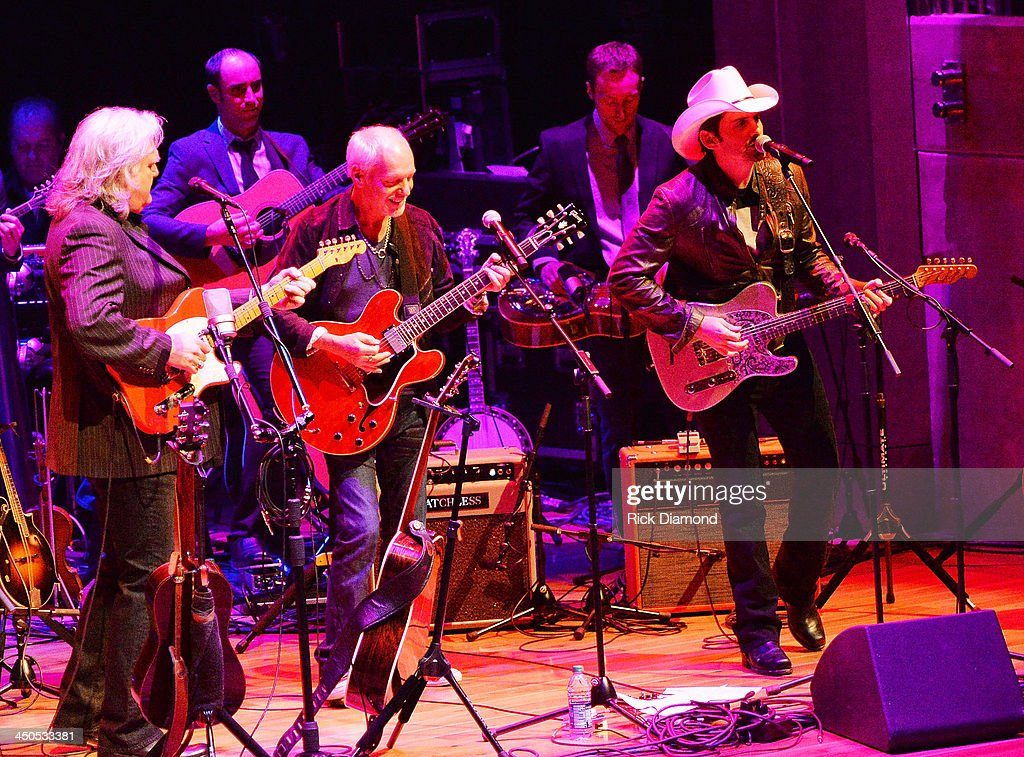 Recording Artists Ricky Skaggs, Peter Frampton and Brad Paisley perform at the CMA Theater on November 18, 2013 in Nashville, Tennessee. Skaggs was recently announced as the Country Music Hall of Fame and Museum's 2013 Artist-in-Residence.