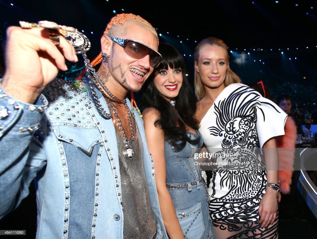 Recording artists <a gi-track='captionPersonalityLinkClicked' href=/galleries/search?phrase=Riff+Raff+-+Rapper&family=editorial&specificpeople=12812001 ng-click='$event.stopPropagation()'>Riff Raff</a>, <a gi-track='captionPersonalityLinkClicked' href=/galleries/search?phrase=Katy+Perry&family=editorial&specificpeople=599558 ng-click='$event.stopPropagation()'>Katy Perry</a> and <a gi-track='captionPersonalityLinkClicked' href=/galleries/search?phrase=Iggy+Azalea&family=editorial&specificpeople=8558263 ng-click='$event.stopPropagation()'>Iggy Azalea</a> attend the 2014 MTV Video Music Awards at The Forum on August 24, 2014 in Inglewood, California.