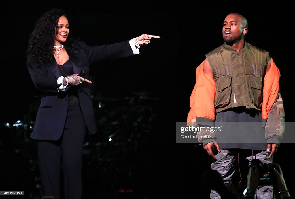 Recording artists Rihanna and Kanye West perform onstage during DirecTV Super Saturday Night hosted by Mark Cuban's AXS TV and Pro Football Hall of...