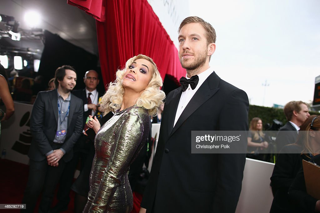 Recording artists <a gi-track='captionPersonalityLinkClicked' href=/galleries/search?phrase=Rita+Ora&family=editorial&specificpeople=5686485 ng-click='$event.stopPropagation()'>Rita Ora</a> and <a gi-track='captionPersonalityLinkClicked' href=/galleries/search?phrase=Calvin+Harris&family=editorial&specificpeople=4412722 ng-click='$event.stopPropagation()'>Calvin Harris</a> attend the 56th GRAMMY Awards at Staples Center on January 26, 2014 in Los Angeles, California.