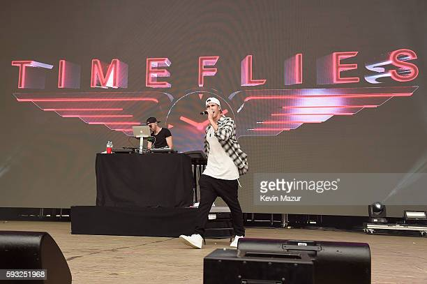 Recording artists Rob Resnick and Cal Shapiro of Timeflies perform onstage during the 2016 Billboard Hot 100 Festival Day 2 at Nikon at Jones Beach...