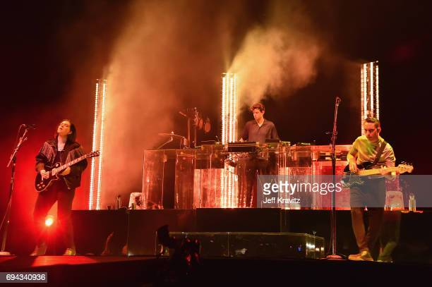 Recording artists Romy Madley Croft Jamie xx and Oliver Sim of The xx perform onstage at What Stage during Day 2 of the 2017 Bonnaroo Arts And Music...
