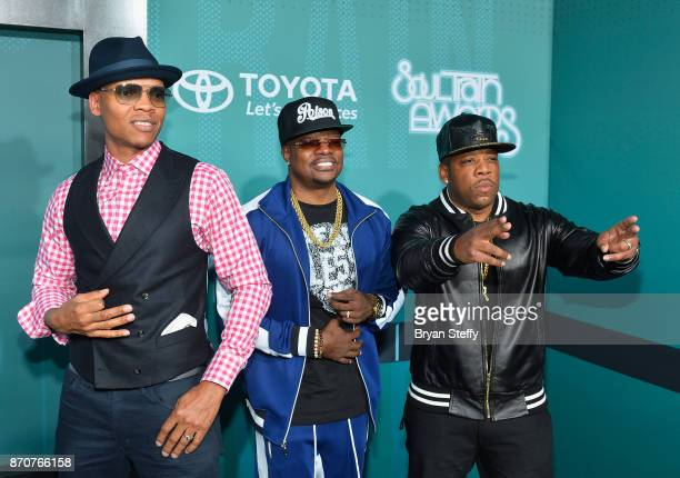 Recording artists Ronnie DeVoe Ricky Bell and Michael Bivins of Bell Biv DeVoe attend the 2017 Soul Train Music Awards at the Orleans Arena on...