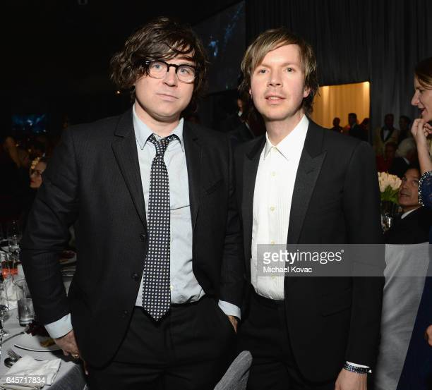 Recording artists Ryan Adams and Beck attend the 25th Annual Elton John AIDS Foundation's Academy Awards Viewing Party at The City of West Hollywood...