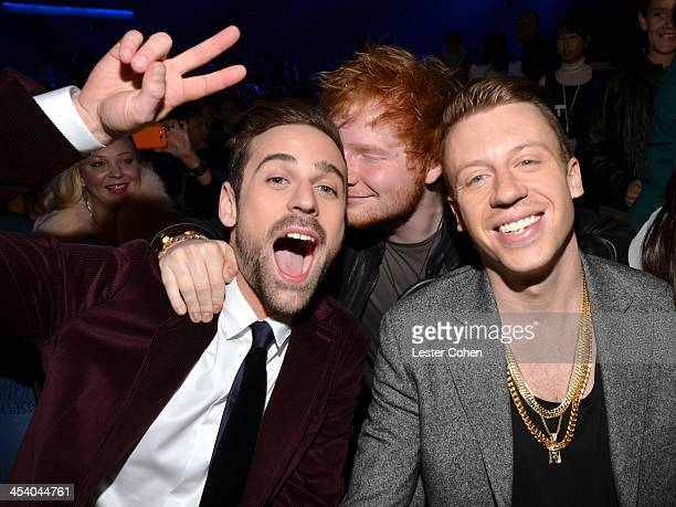 Recording artists Ryan Lewis Ed Sheeran and Macklemore attend The GRAMMY Nominations Concert Live Countdown to Music's Biggest Night at Nokia Theatre...
