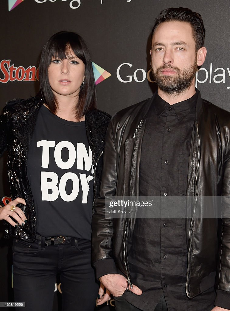 Recording artists Sarah Barthel and Josh Carter of Phantogram attend Rolling Stone and Google Play event during Grammy Week at the El Rey Theatre on...