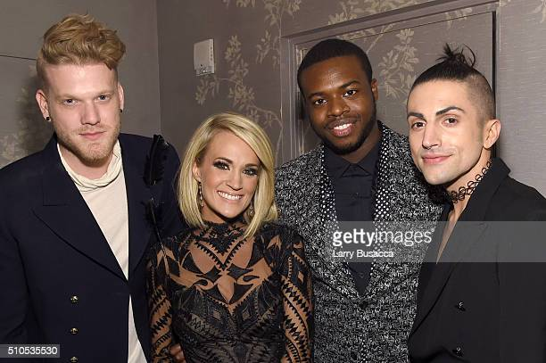 Recording artists Scott Hoying of Pentatonix Carrie Underwood and Kevin Olusola and Mitch Grassi of Pentatonix attend Sony Music Entertainment 2016...