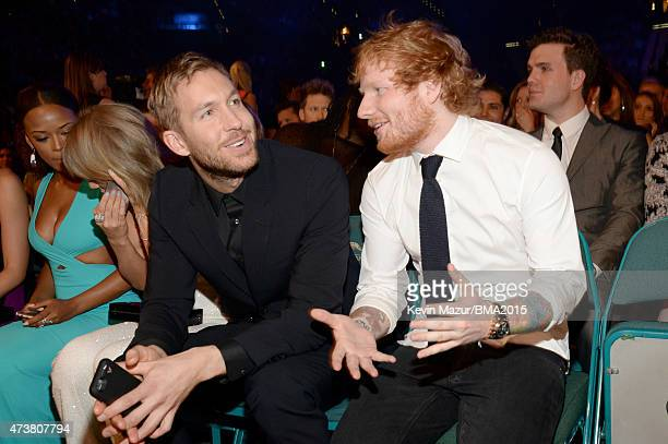 Recording artists Serayah Taylor Swift Calvin Harris and Ed Sheeran attend the 2015 Billboard Music Awards at MGM Grand Garden Arena on May 17 2015...