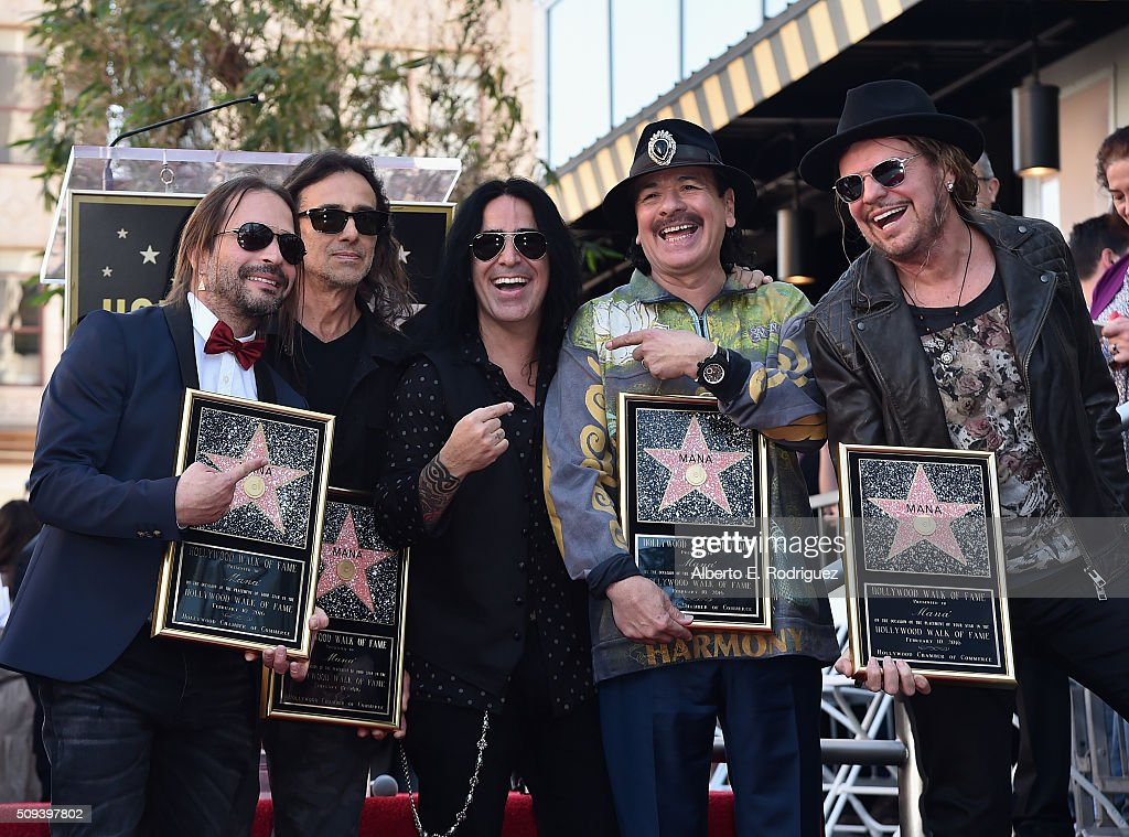 Recording artists Sergio Vallin, Juan Calleros, Alex Gonzalez, Carlos Santana and Fher Olvera attend a ceremony honoring Maná with the 2,573rd Star on the Hollywood Walk of Fame on February 10, 2016 in Hollywood, California.