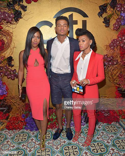 Recording artists Sevyn Streeter Trevor Jackson and Janelle Monae attend the Citi Celebrates 2016 Billboard Power 100 on February 12 2016 in Los...