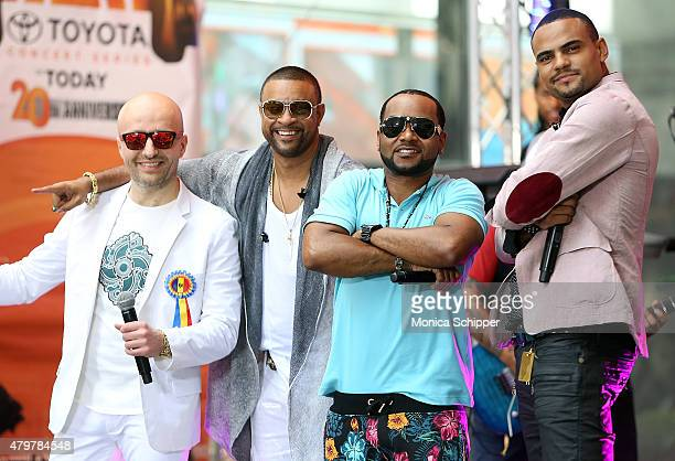 Recording artists Shaggy Costi and Mohombi pose for a photo when Shaggy performs on NBC's 'Today' at Rockefeller Plaza on July 7 2015 in New York City