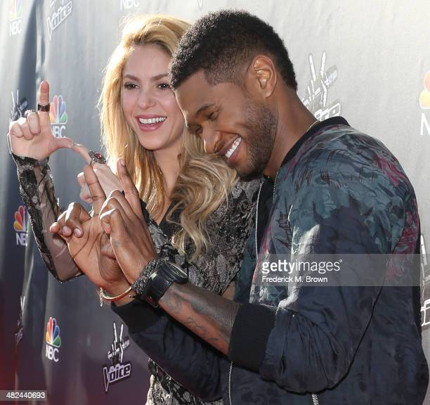 Recording artists Shakira and Usher attend NBC's 'The Voice' Red Carpet Event at The Sayers Club on April 3 2014 in Hollywood California