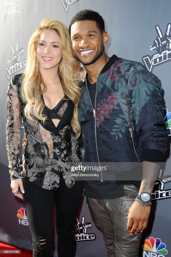 Recording artists Shakira and Usher attend NBC's 'The Voice' Red Carpet Event at The Sayers Club on April 3, 2014 in Hollywood, California.