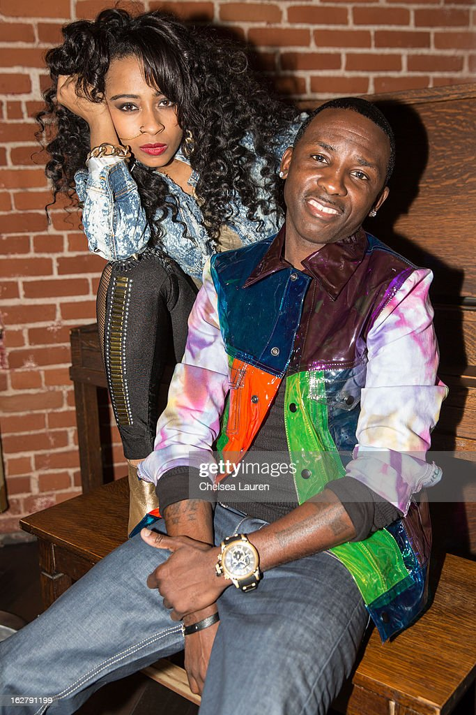 Recording artists Shanell (L) and Tah Mac pose backstage at the 'Love, Life & Reality' show at Federal Bar on February 26, 2013 in Hollywood, California.
